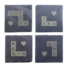 Slate Scrabble Tile Coaster - Natural Edge 10 x 10cm Personalised, Design Yours